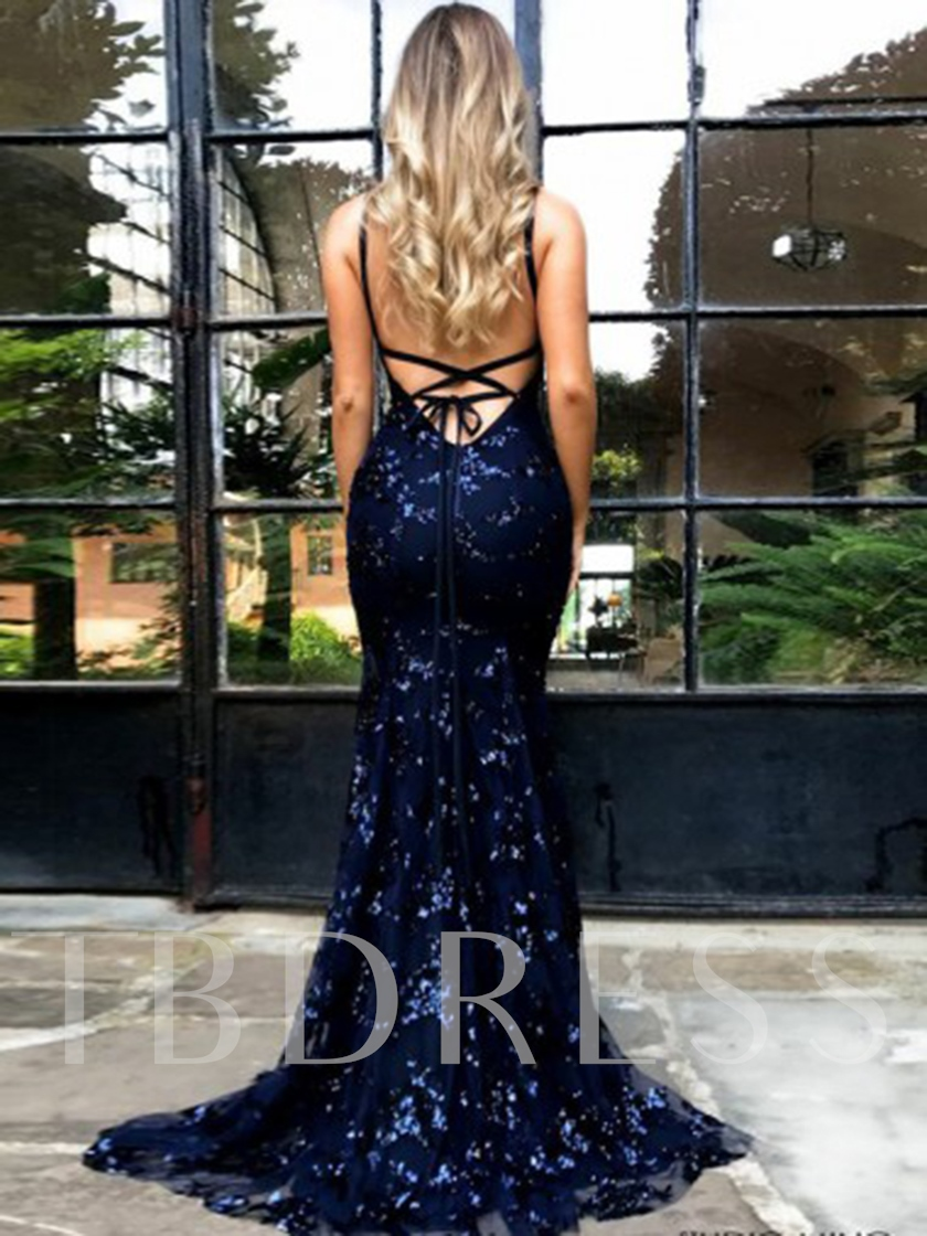 Floor-Length Spaghetti Straps Sequins Sweep Train Evening Dress 2019