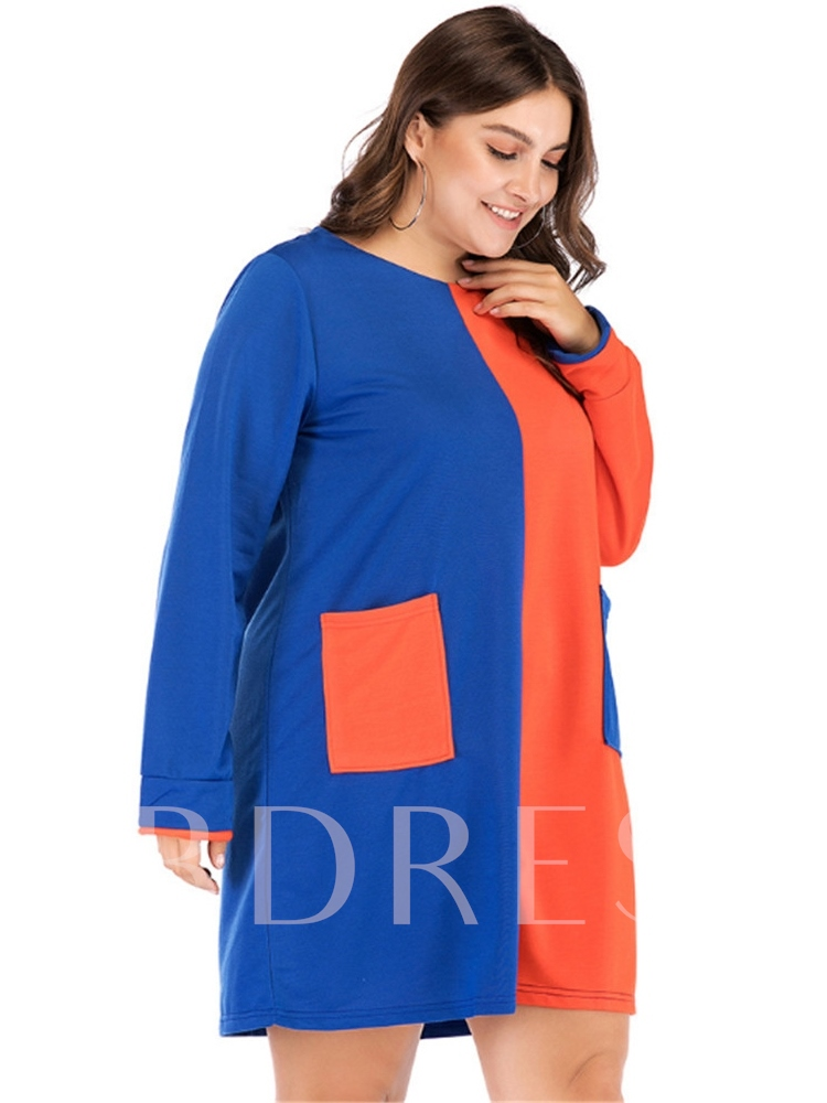 Round Neck Pocket Patchwork Pullover Women's Long Sleeve Dress