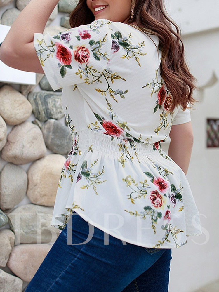 Asymmetric V-Neck Floral Print Plus Size Women's Blouse