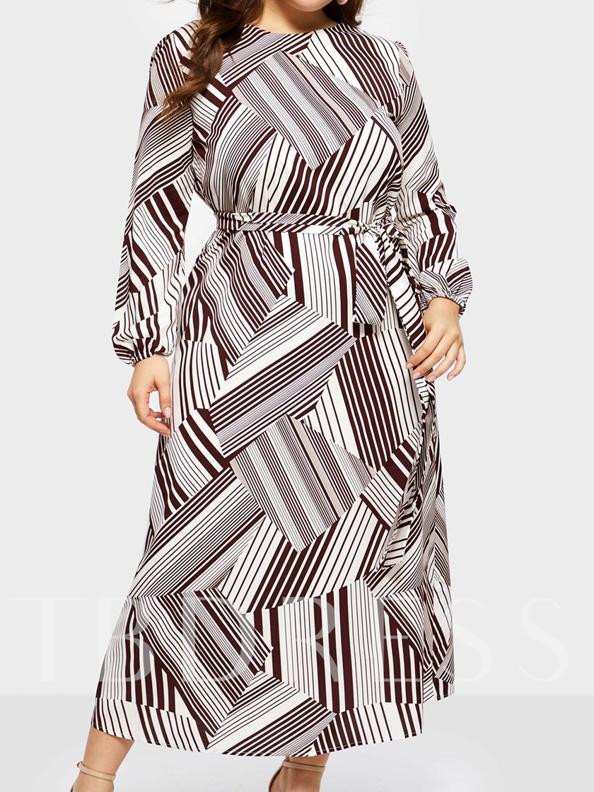 Stripe Round Neck Nine Points Sleeve Women's Maxi Dress