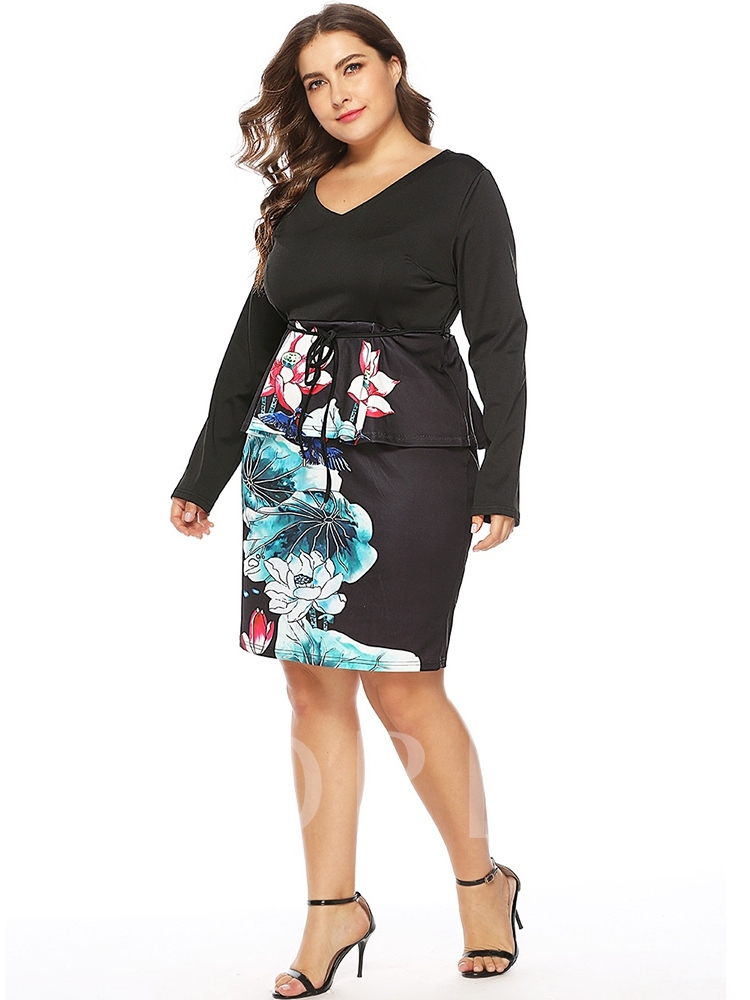 Plus Size Lace-Up V-Neck Floral Women's Long Sleeve Dress