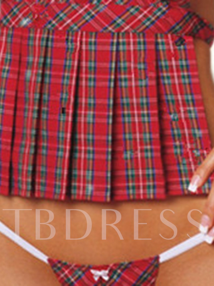 Plaid Pleated Sleeveless School Uniform Sexy Costume