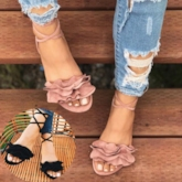 Lace-Up Open Toe Flat With Western Ruffles Women's Sandals