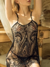 Tassel See-Through Lace Sleeveless Nightgown Babydoll