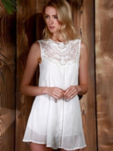 Sleeveless Patchwork See Through Women's Lace Dress