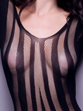 Stripe Backless See-Through Long Sleeve Teddy