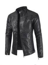 Stand Collar Standard Plain Men's Leather Jacket
