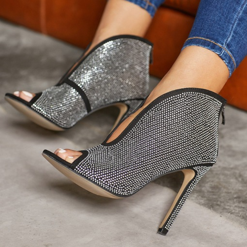 Stiletto Ferse Peep Toe Slip-On Strass ultra-hohe Ferse dünne Schuhe