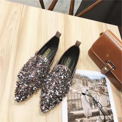 Sequin Slip-On Glitter Pointed Toe Low-Cut Upper Women's Flats