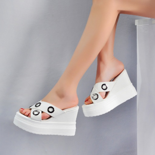 Cross Wedge Heel Slip-On Hollow Summer Women's Slippers