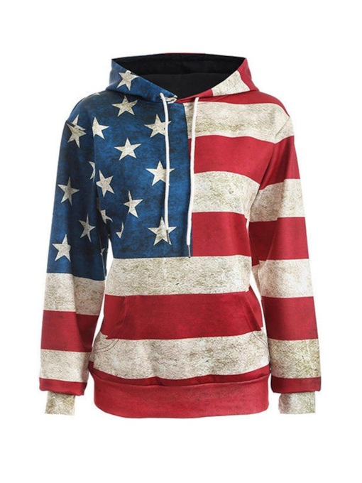 National Flag Print Stripe Star Women's Hoodie