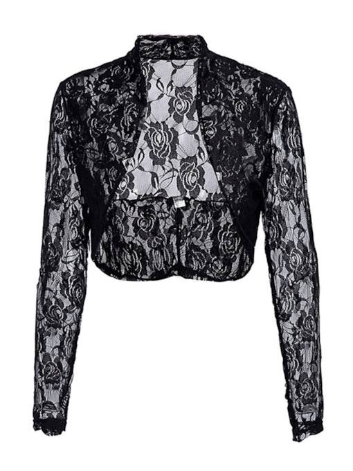 Plain Lace Shrug Cropped Women's Cardigan