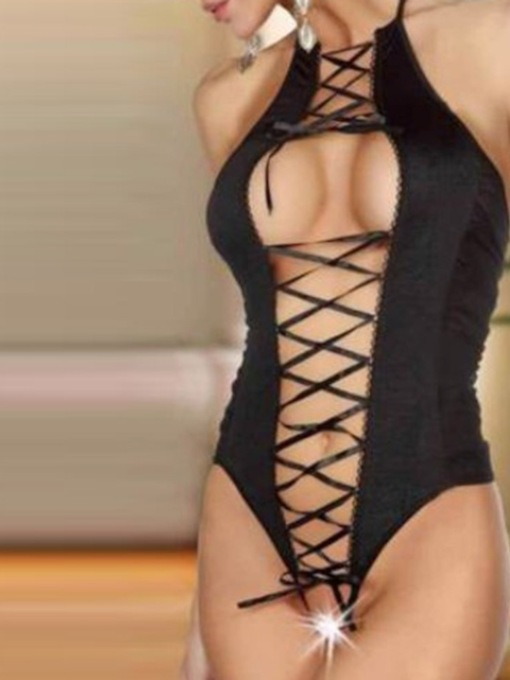 Lace-Up See-Through Lace Tight Wrap Teddy