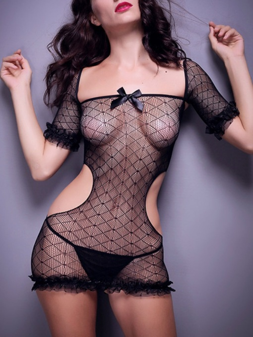 See-Through Plain Short Sleeve Bunny Costume Sexy Teddy