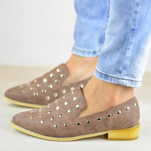 Slip-On Pointed Toe Rivet Block Heel Low Heel Flats
