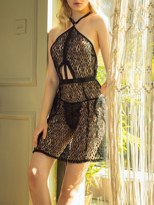 Backless Halter Lace Sleeveless Nightgown Babydoll