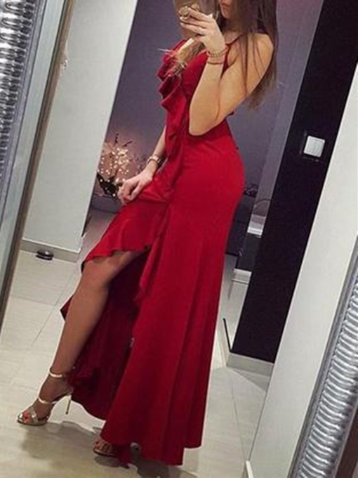 Sheath Floor-Length Spaghetti Straps Sleeveless Evening Dress 2019