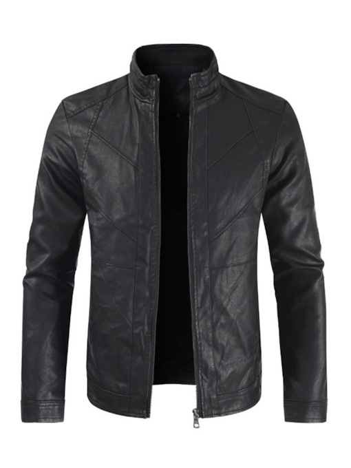 Standard Stand Collar Plain Spring Men's Leather Jacket