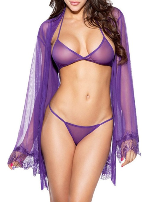 Plain See-Through Three-Point Sexy Bra Set and Robe