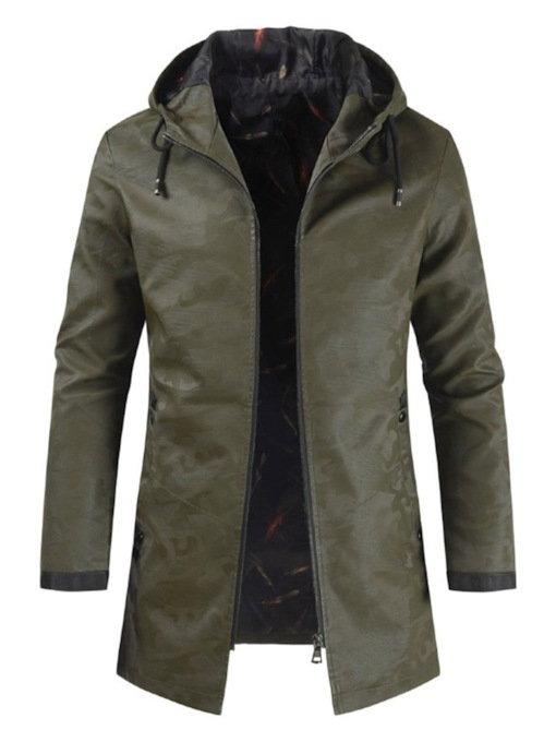Hooded Camouflage Zipper Men's Jacket