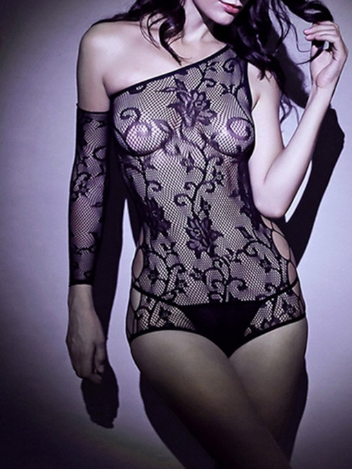 See-Through One Shoulder Floral Sexy Teddy