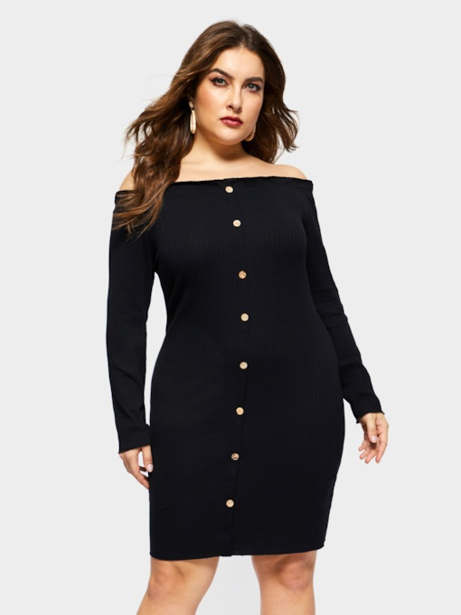 Plus Size Long Sleeve Off Shoulder Fall Women's Long Sleeve Dress