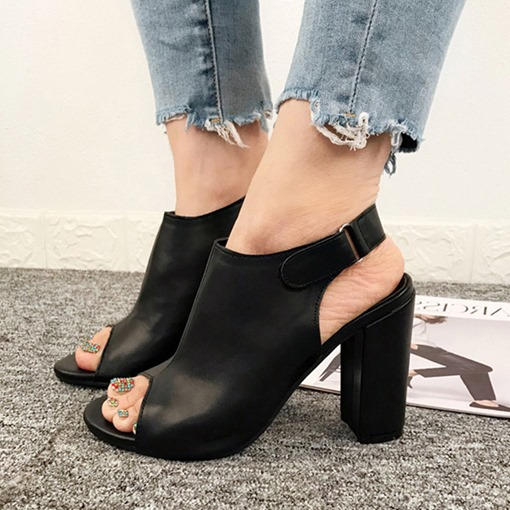 Peep Toe Chunky Heel Velcro Casual Women's Sandals