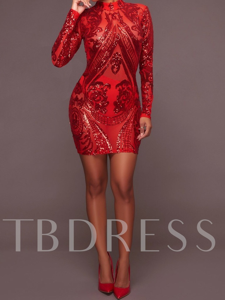 Stand Collar Long Sleeve Sequins Spring Women's Bodycon Dress