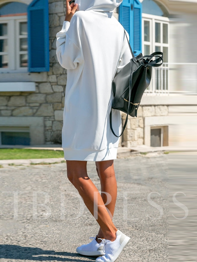 Plain Hooded Pullover Women's Long Sleeve Dress