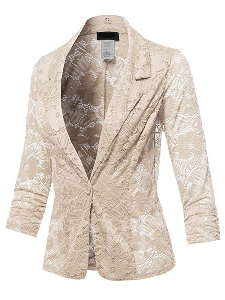Notched Lapel One Button Lace Women's Casual Blazer