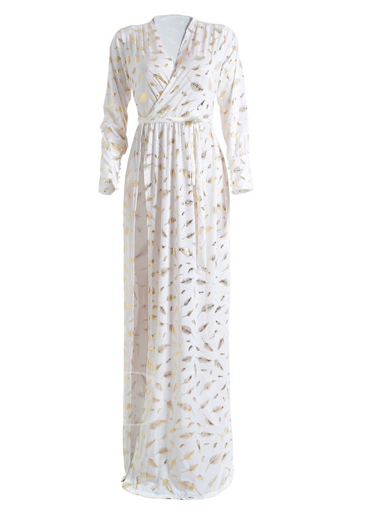 Long Sleeve V-Neck Feather Pullover Women's Maxi Dress