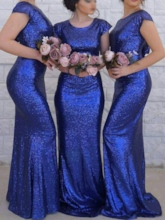 Cap Sleeves Sheath Sequins Bridesmaid Dress