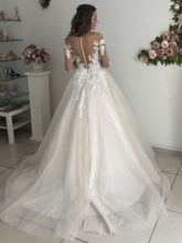 Long Sleeves Appliques Button Wedding Dress 2019