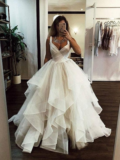 Straps Tiered Ball Gown Wedding Dress 2019 Straps Tiered Ball Gown Wedding Dress 2019