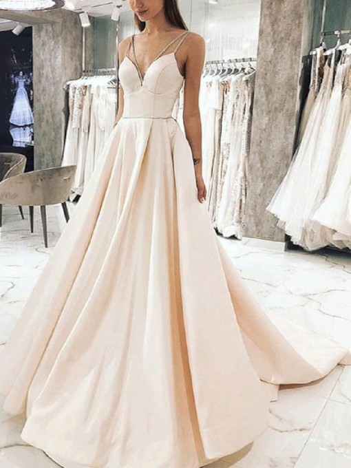 Chapel Train Sleeveless Beading Spaghetti Straps Evening Dress 2019