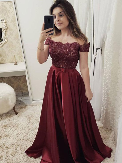 Floor-Length Beading Cap Sleeves Off-The-Shoulder Evening Dress 2019