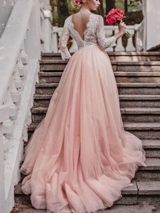 3/4 Length Sleeves Appliques Pink Wedding Dress 2019