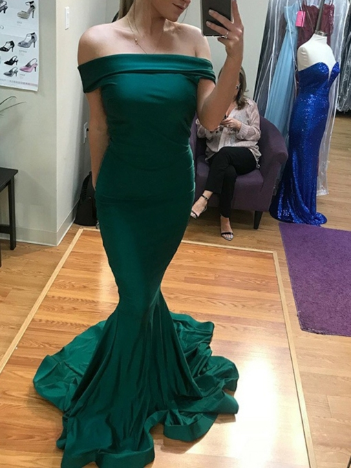 Floor-Length Trumpet Off-The-Shoulder Evening Dress 2019