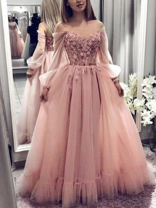 Long Sleeves Off-The-Shoulder A-Line Evening Dress 2019