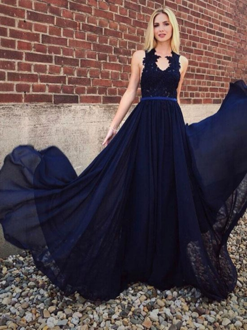 A-Line Sleeveless Appliques Scoop Sashes Evening Dress 2019