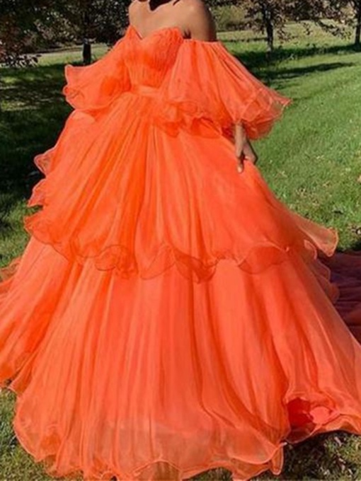 Off the Shoulder Tiered Ruffles Ball Gown Prom Dress 2019