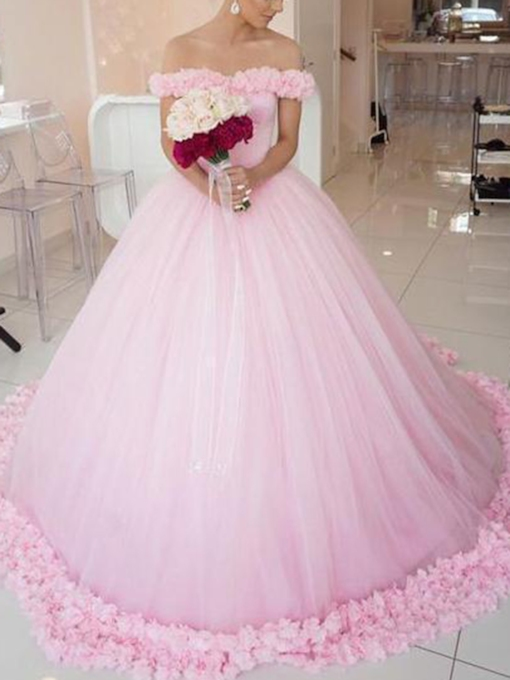 Off-The-Shoulder Flowers Pink Wedding Dress 2019