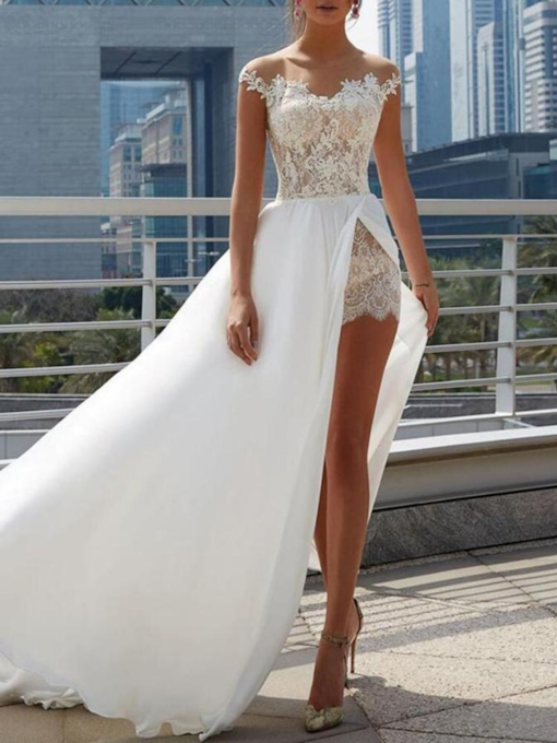 Illusion Neck Split-Front Lace Beach Wedding Dress 2019
