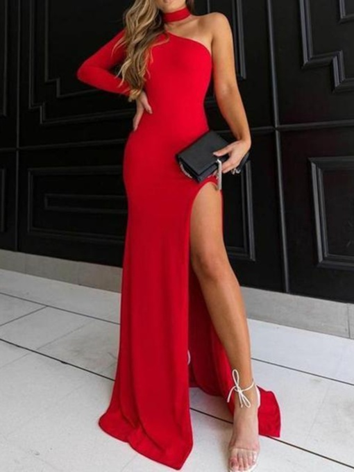 One Shoulder Long Sleeve Sheath Red Evening Dress