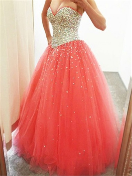 Sweetheart Beading Ball Gown Sleeveless Prom Dress 2019