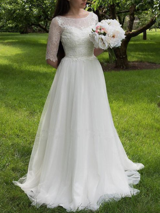 A-Line Half Sleeves Lace Wedding Dress 2019