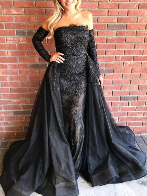langärmliges Spitzenkleid off-the-shoulder Abendkleid 2019