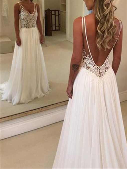 V-Neck Appliques A-Line Beach Wedding Dress 2019