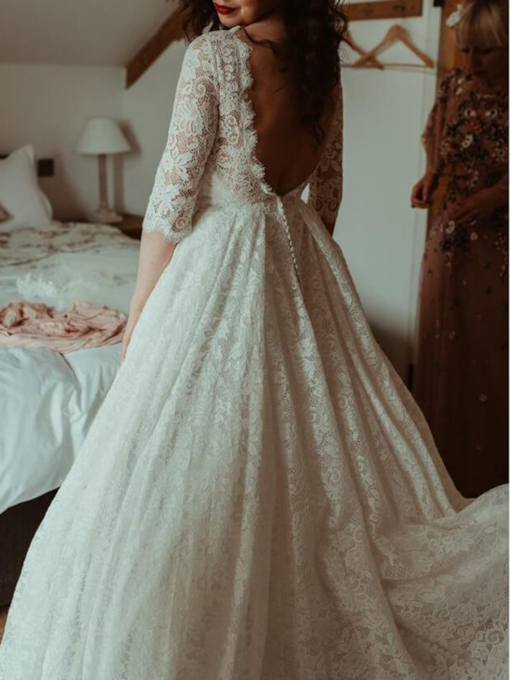 Half Sleeves A-Line Lace Beach Wedding Dress 2019