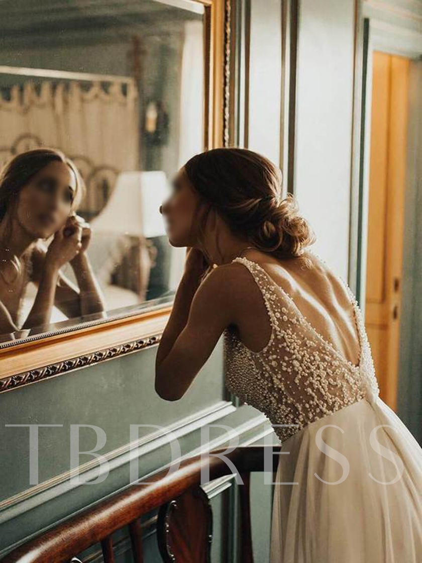 Pearls Sleeveless A-Line V-Neck Beaach Wedding Dress 2019